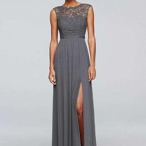 1ea4ec9a13cb David's Bridal Dresses | Davids Bridal Long Grey Dress Lace Bodice ...